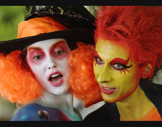 Models pose during the annual World Bodypainting Festival in Poertschach