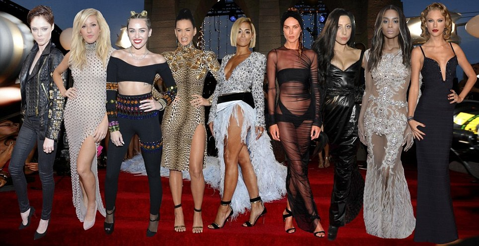 Coco Rocha, Ellie Goulding, Miley Cyrus, Katy Perry, Rita Ora, Erin Wasson, Lady Gaga, Ciara ve Taylor Swift.