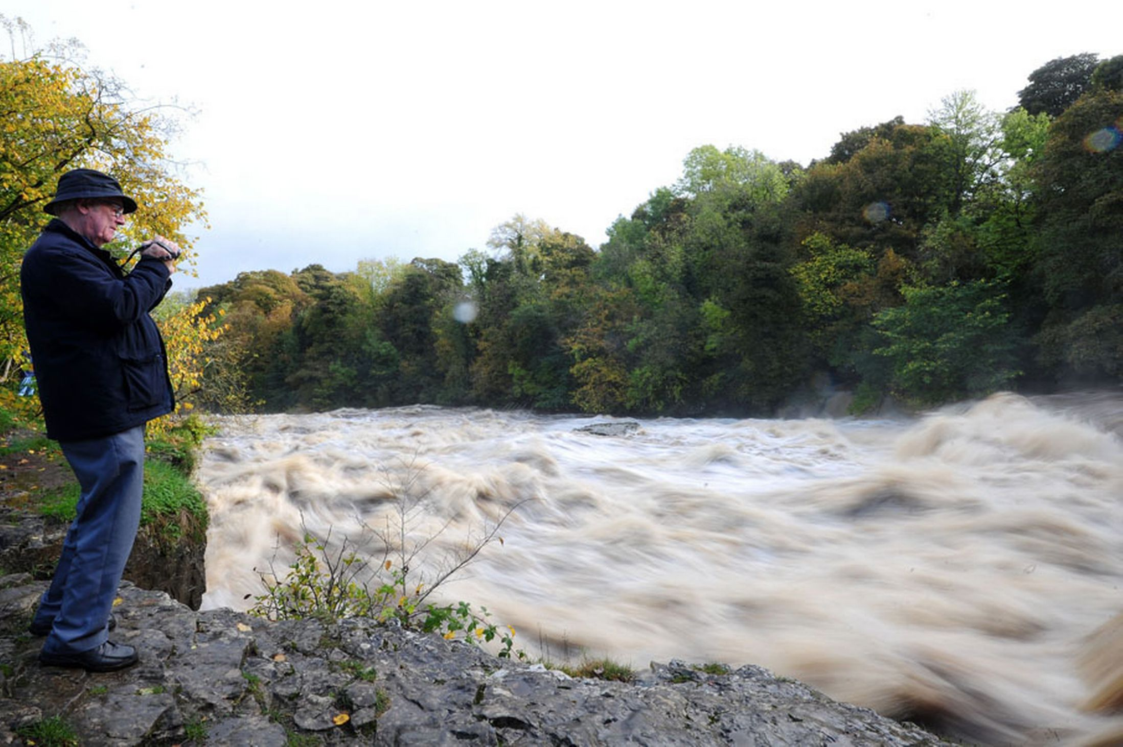 A-man-looks-out-over-the-fast-flowing-and-swollen-River-Ure-at-Aysgarth-Falls-North-Yorkshire-23rd-October-2641150