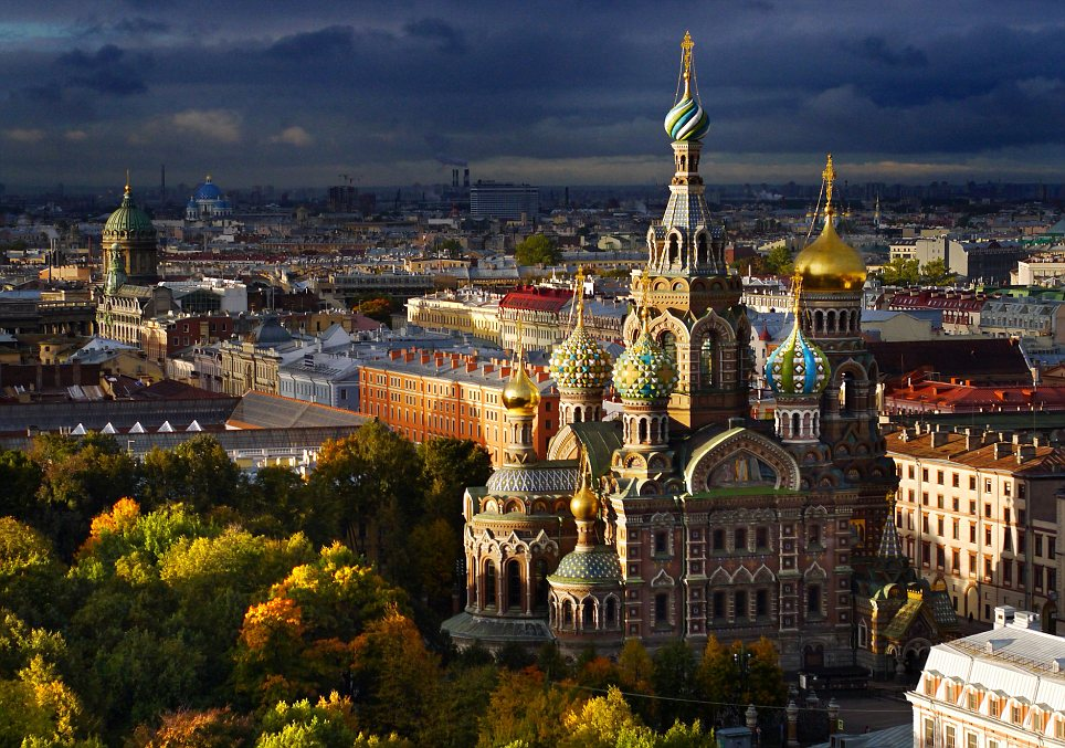 Aerial views of Autumn in St Petersburg, Russia - Oct 2013